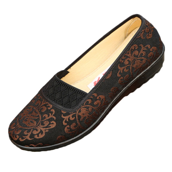 Floral Print Slip On Flat Shoes Soft Sole Breathable Retro Flats