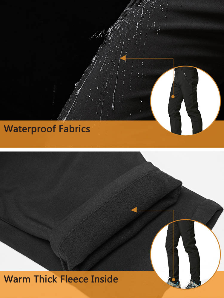 Outdoor Women Waterproof Windproof Thick Fleece Trousers