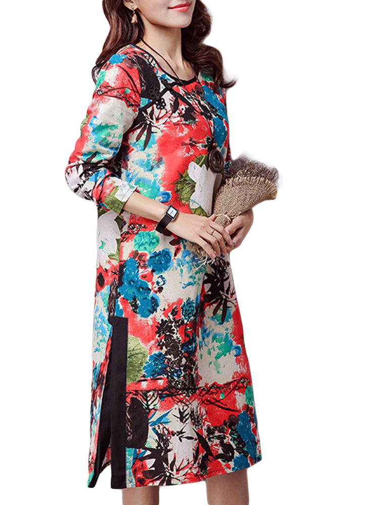 Folk Style Elegant Women Button Floral Print Split Cotton Linen Dress