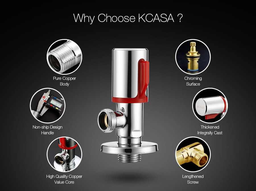 KCASA Chrome Brass Angle Valve Toilet Bathroom Laundry Machine Water Diverter Switch Accessories