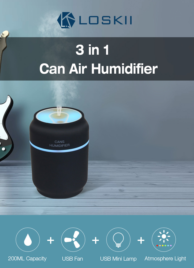 Loskii HP-201 Electronic Rechargeable USB Port 200ML Car Home Air Purifier Can Humidifier with Colorful Light