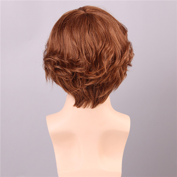 Auburn Brown Human Hair Wig Cool Men Male Virgin Remy Capless Side Bang Short Mono Top