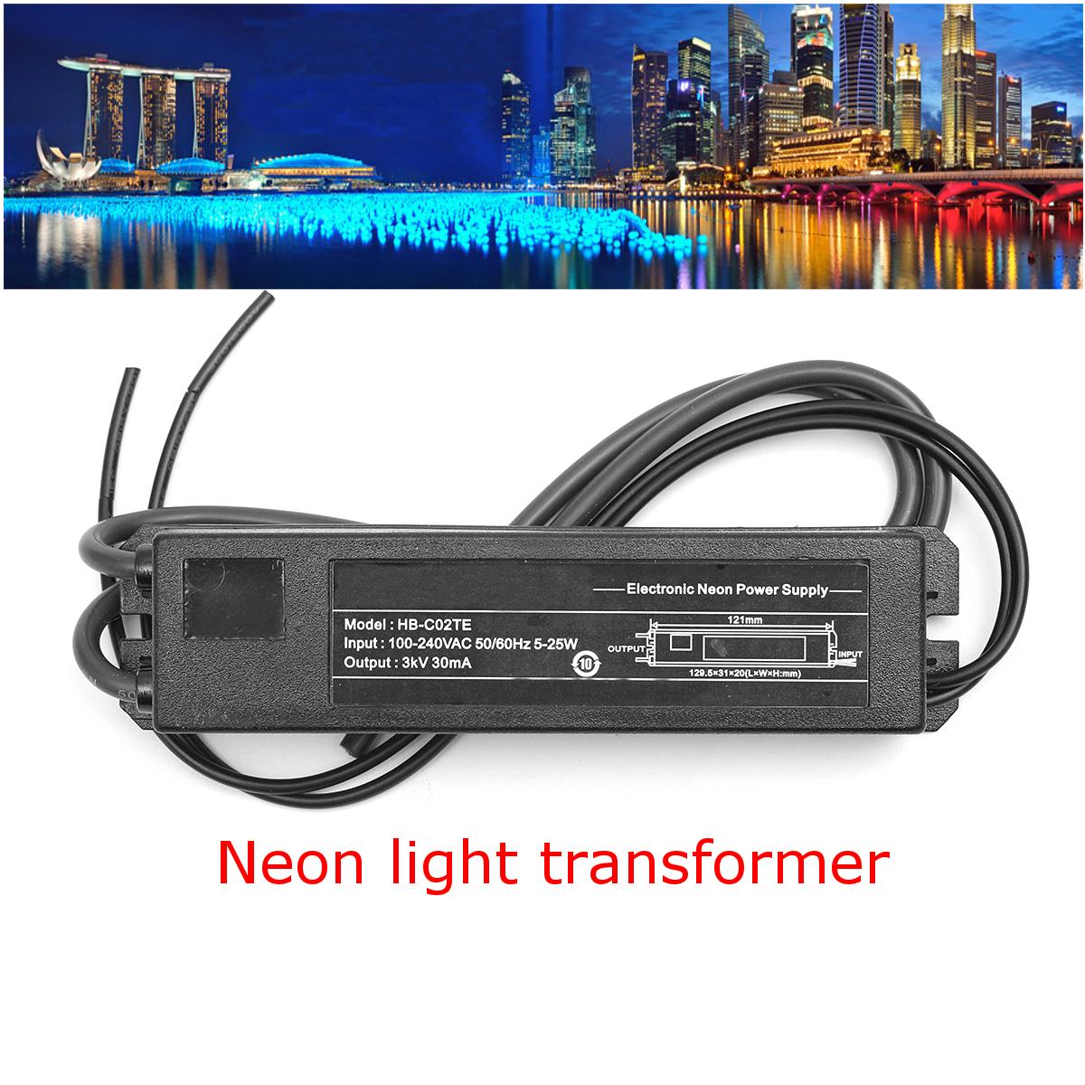 Universal HB-C02TE 3KV 30MA 5-25W Glass Neon Sign Light Power Supply Transformer Adapter Driver