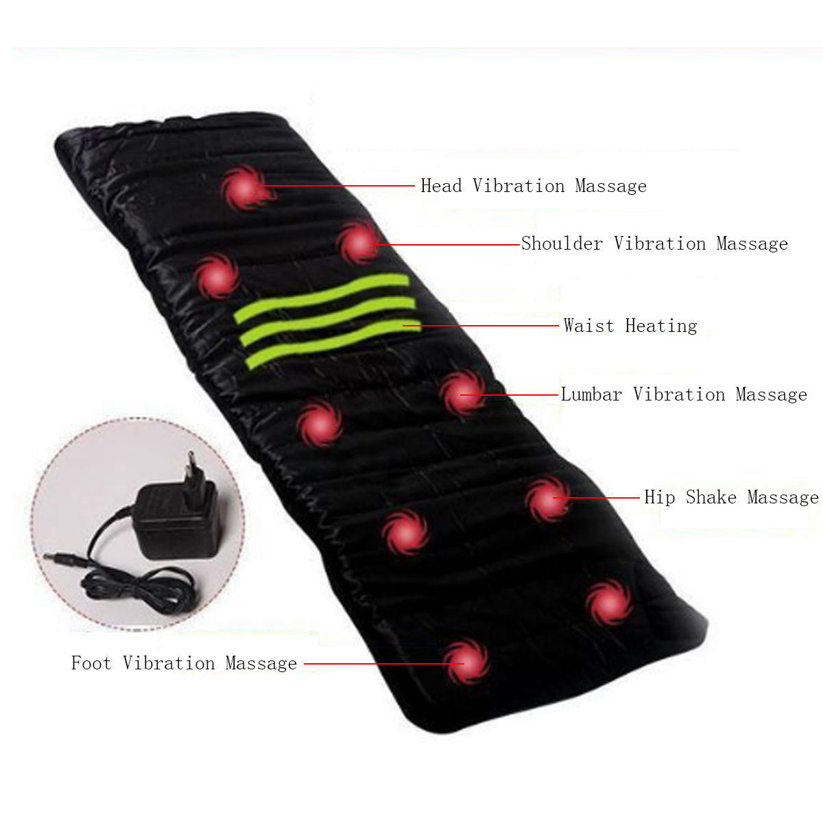 9 Motor Chair Heat Electric Body Massage Mat Seat Cushion Back Neck Pain Massager