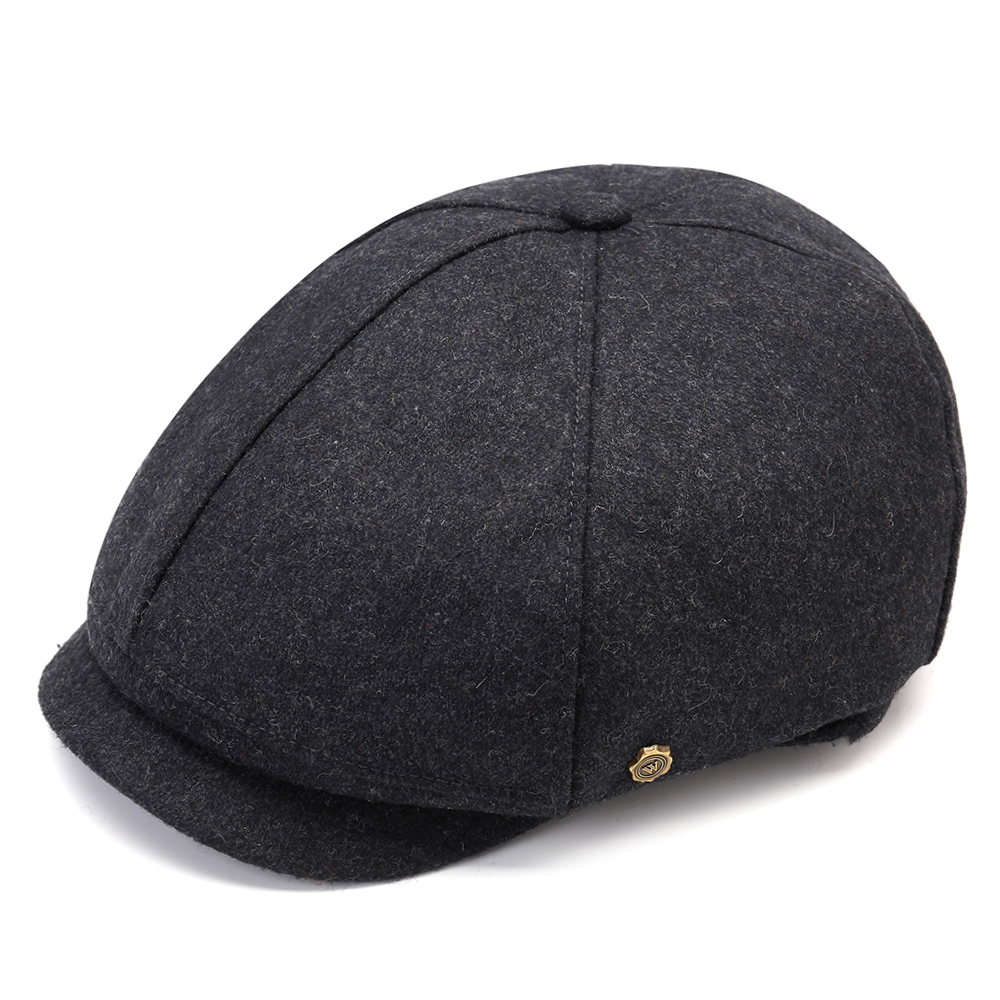 Retro Winter Thicken Woolen Beret Hat Newsboy Hat