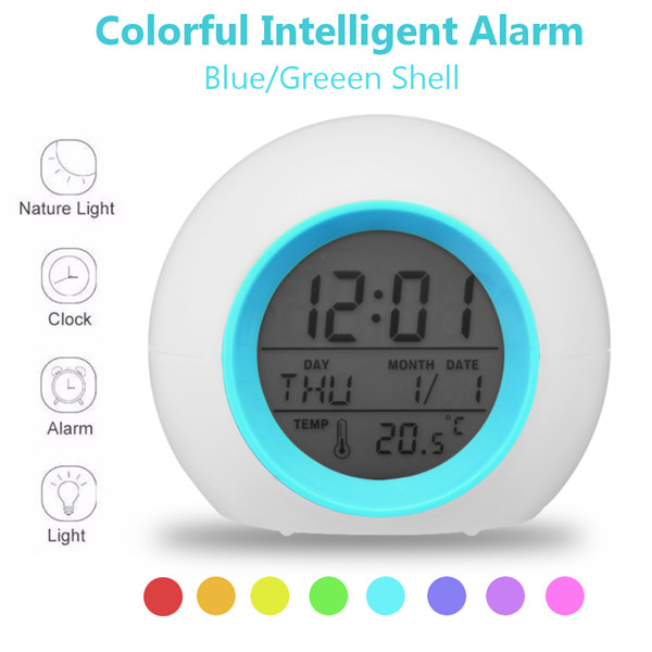 Battery Powered Colorful Wake-up Lamp Intelligent Alarm Clock Digital Pat Night Light