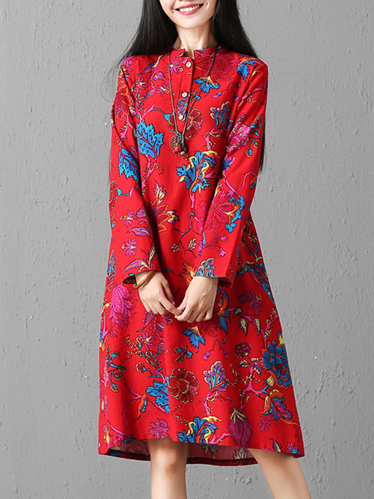 Vintage Women Floral Printed Long Sleeve Crew Neck Dress with Pockets