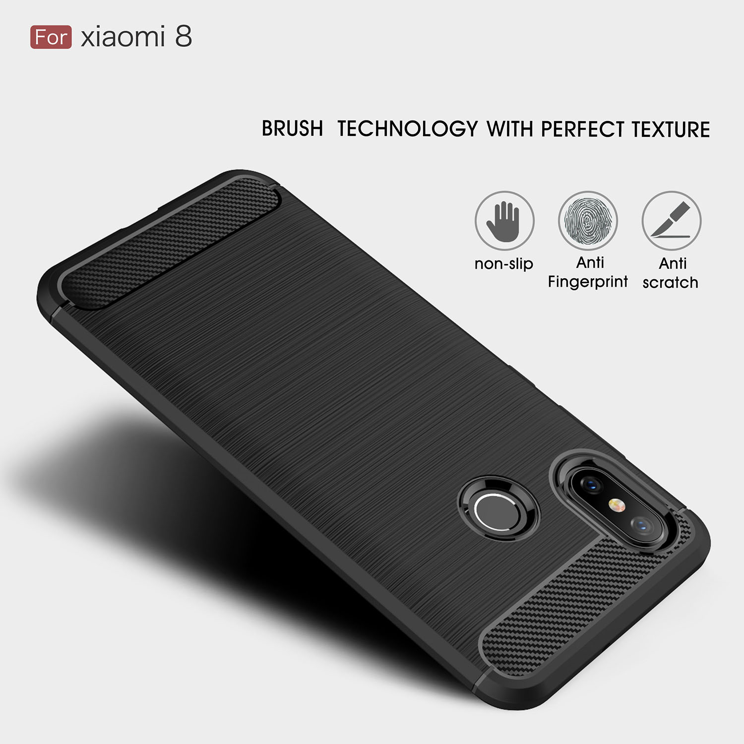 Bakeey Carbon Fiber Shockproof Soft Silicone Back Cover Protective Case for Xiaomi Mi8 Mi 8
