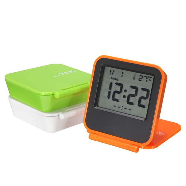 Foldable LCD Digital Travel Desk Alarm Clock Snooze Date Day Thermometer