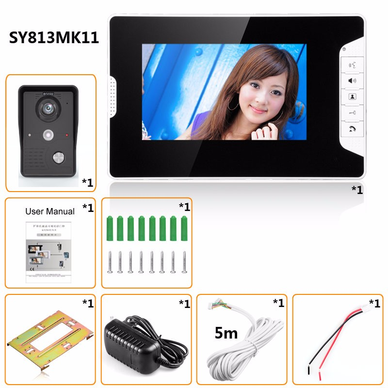 ENNIO SY813MK11 7 Inch TFT LCD Video Door Phone Doorbell Intercom Kit 1 Camera 1 Monitor Night Vision