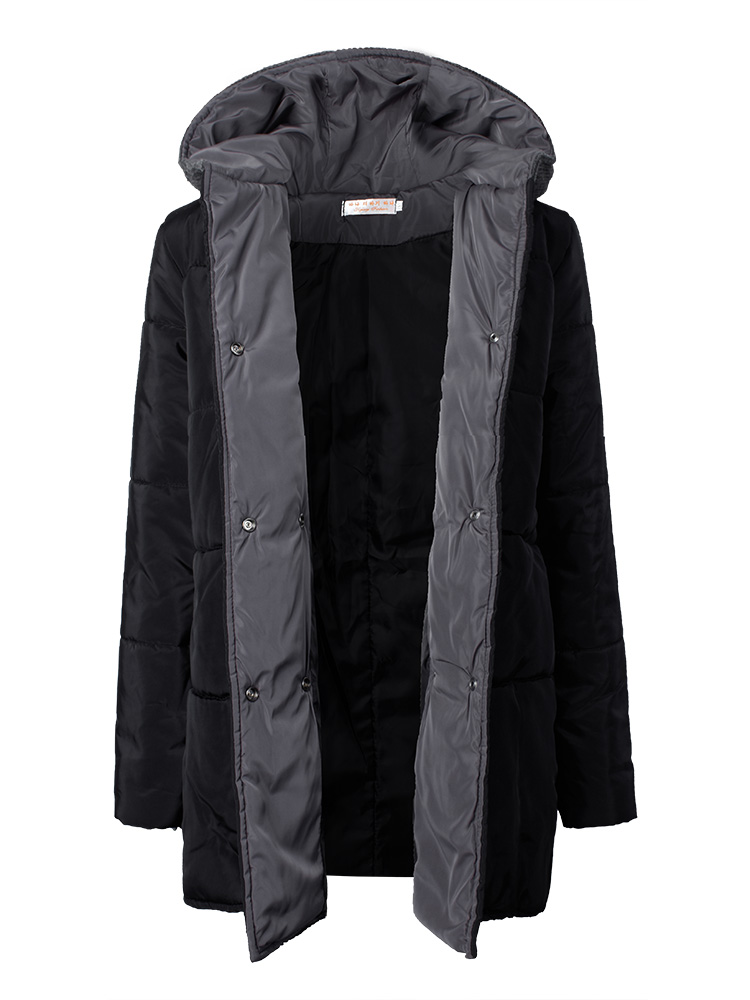 Women Double-Breasted Long Sleeve Knit Patchwork Hooded Thicken Coat