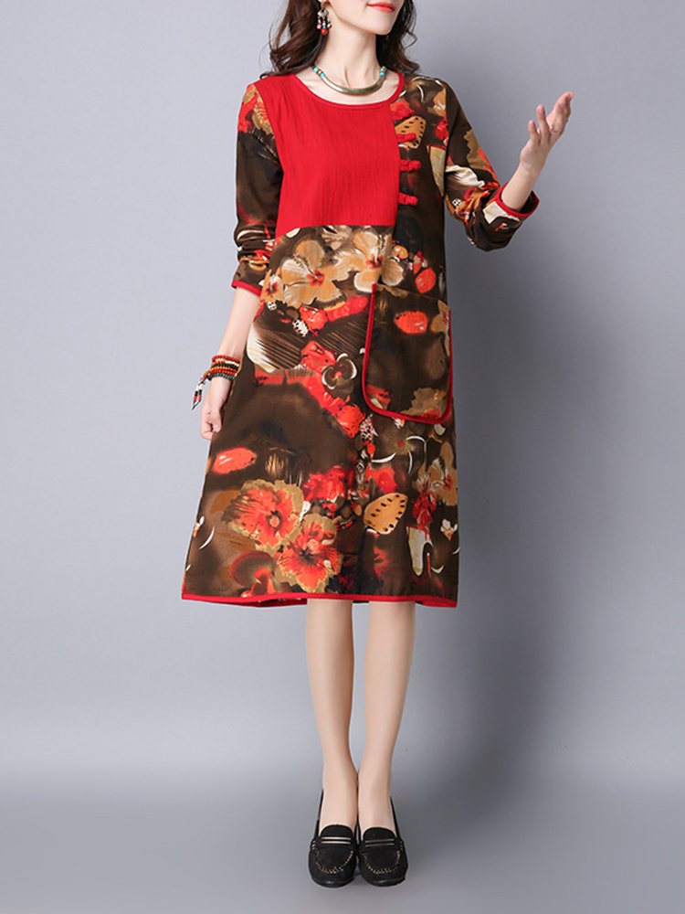 Women Folk Style Chinese Frog Patchwork Flower Printed Pocket Dress