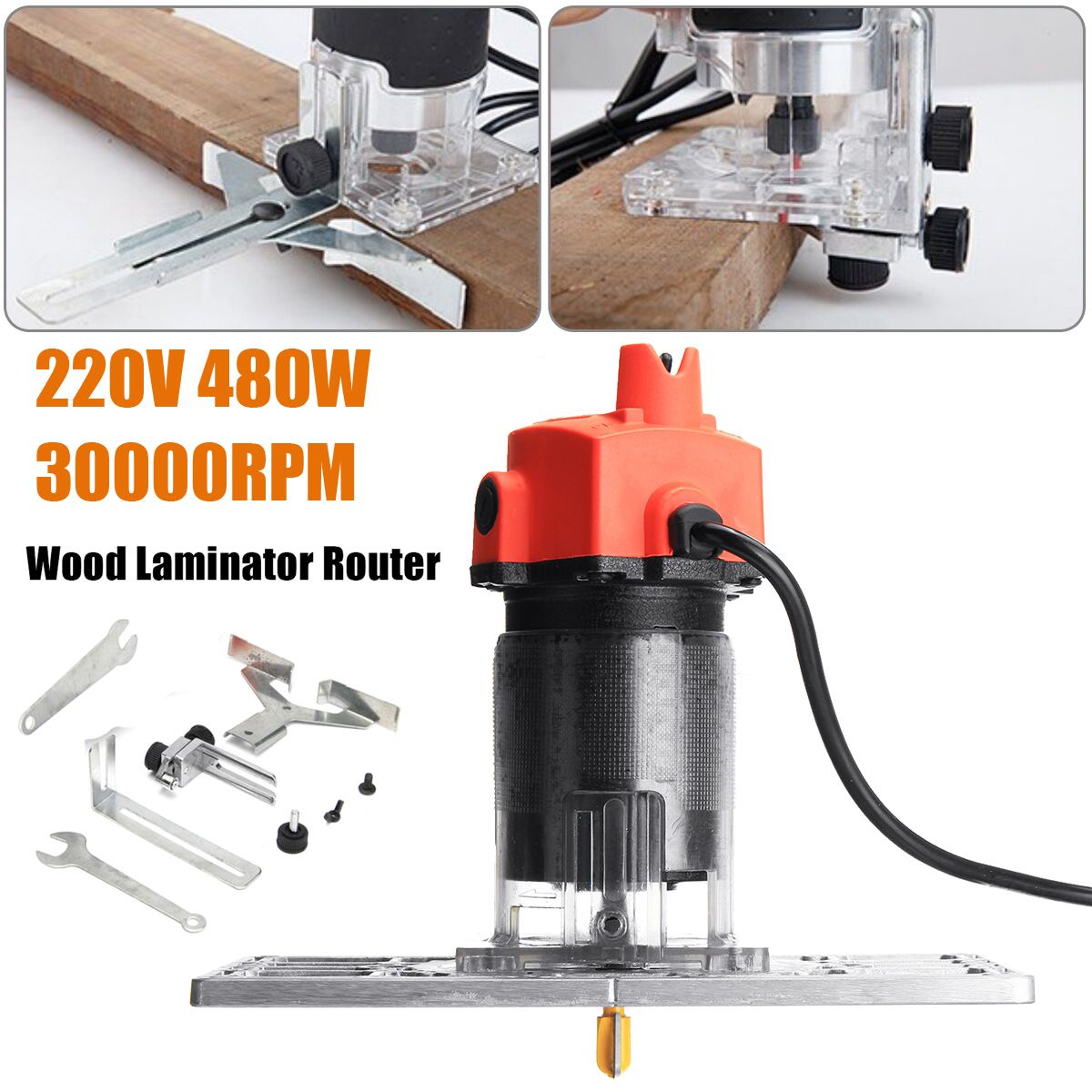 220V 480W Electric Hand Trimmer Router Edge Wood Clean Cuts Power Woodworking Tool Set