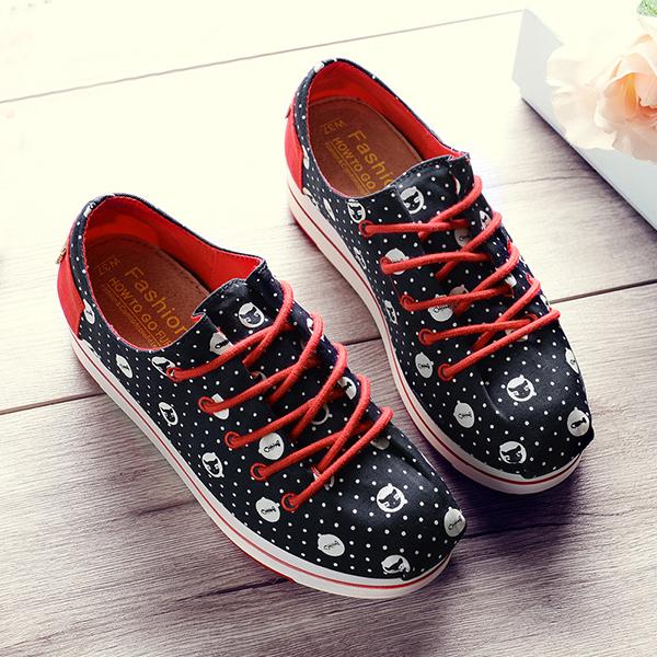 Women Casual Chic Shoes Lace Up Platform Canvas Shoes Colorful Leisure Shoes