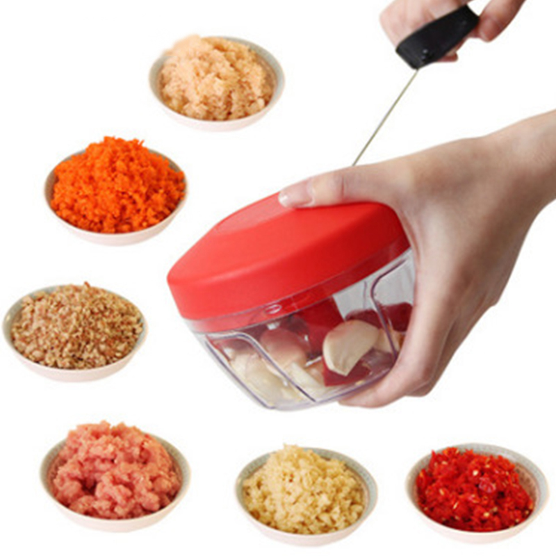 Multifunction Garlic Cutter Chopper Manual Pull Rope Grinding Machine Meat Grinder Vegetable Cutter
