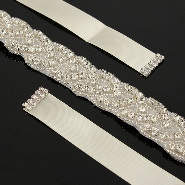 Bridal Luxury Beaded Rhinestone Belt Diamond Crystal Wedding Dress Girdle