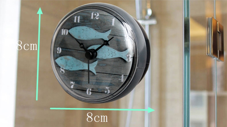 European Retro 3 Fishes Pattern Design Waterproof Shower Wall Mini Watch Suction Cup Batteries Modern Clock For Kitchen Bathroom
