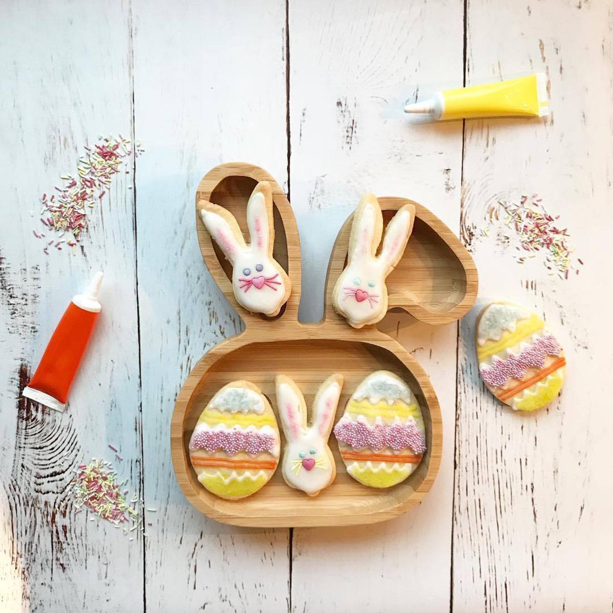 Assiette de succion pour bébé enfant en bas âge Mettez une assiette de nutrition Assiette en bambou naturel en forme de lapin pour enfants
