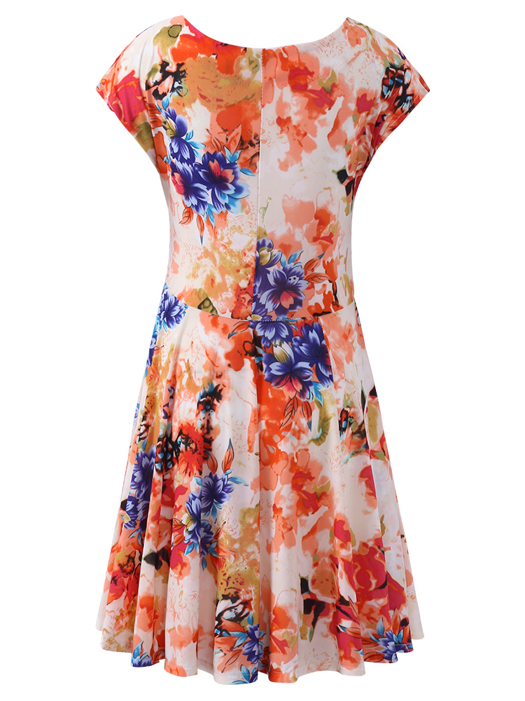 Summer Women Printed Short Sleeve V-Neck Slim A-Line Dresses