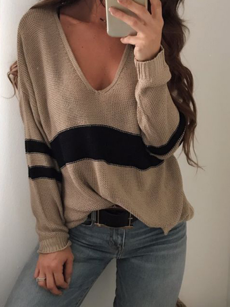 Women V-Neck Striped Split Hem Long Sleeve Knit Sweaters