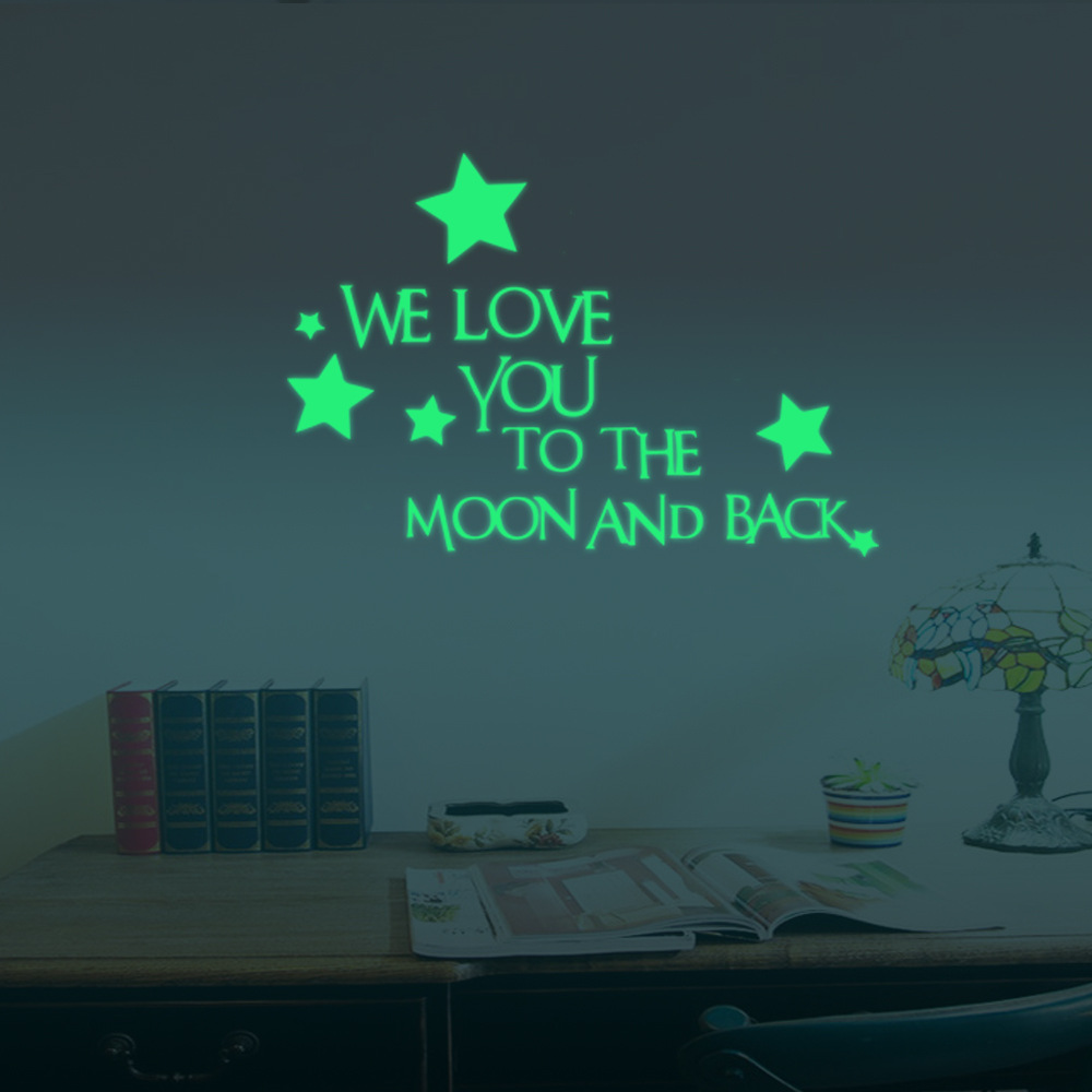 24x35cm We Love You Luminous Stars Wall Stickers Home Wall Decor Decor Glow In The Dark