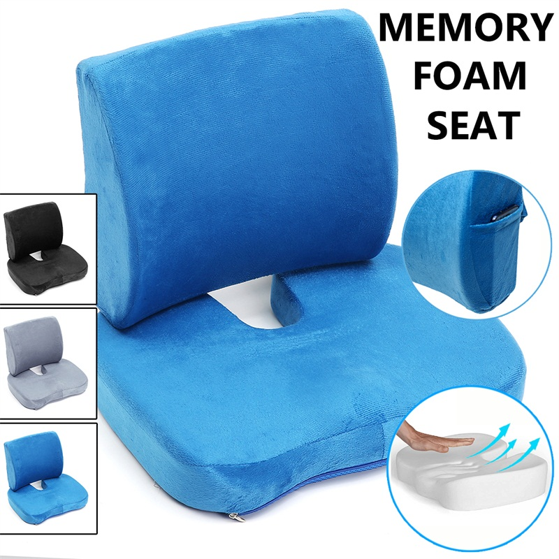 Memory Foam Seat Cushion Lumbar Back Support Orthopedic Pad