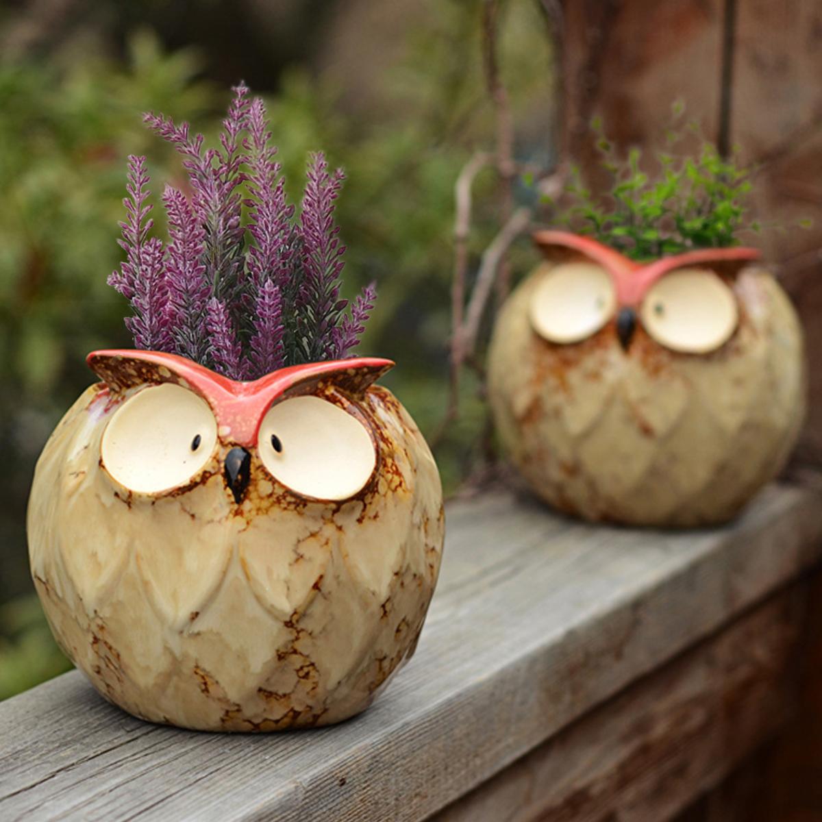 Garden Succulent Plant Flower Pot MIni Owl Shape Ceramic Planter Nursery Decorations 4 Inch