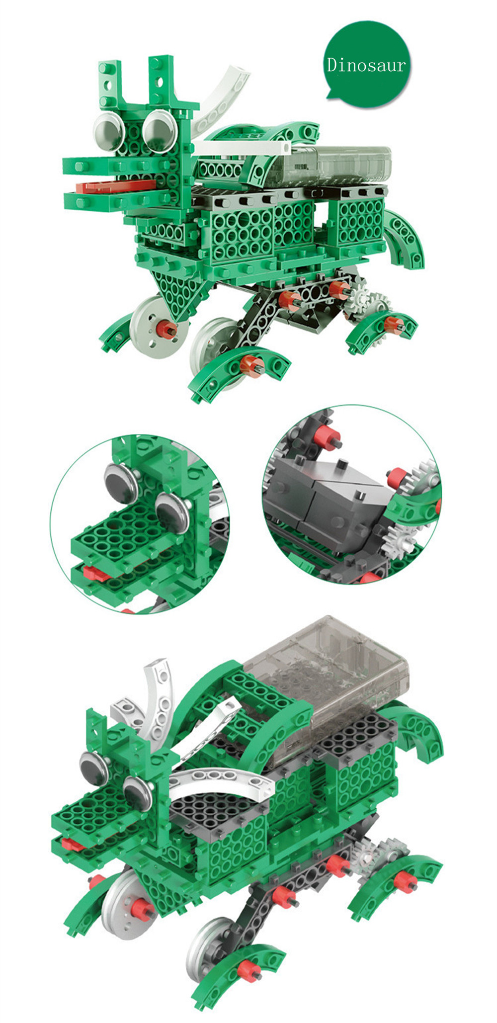 3 In 1 DIY RC Robot Toy Block Building Infrared Control Car Soldier Dinosaur Educational Kit
