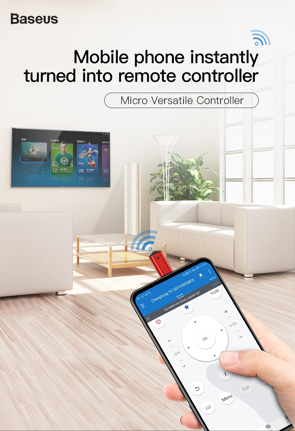 Baseus R03 Universal Remote Key Control for TV/Air Conditioner/Projectors Micro Type-C Jack Smart IR Remote Control for Xiaomi Huawei