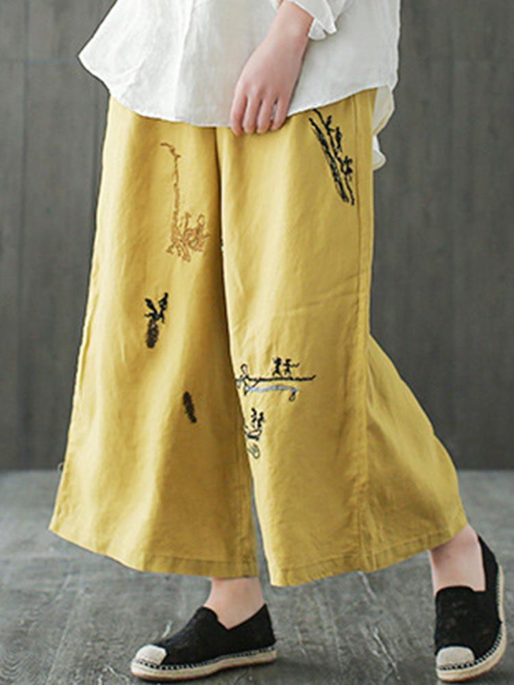 Embroidery Elastic Waist Wide Leg Pants