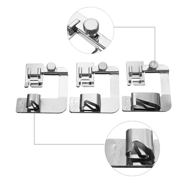 3pcs 4/8 6/8 1 Inch Rolled Hem Foot Set Domestic Sewing Machine Hemmer Presser Machinery Parts