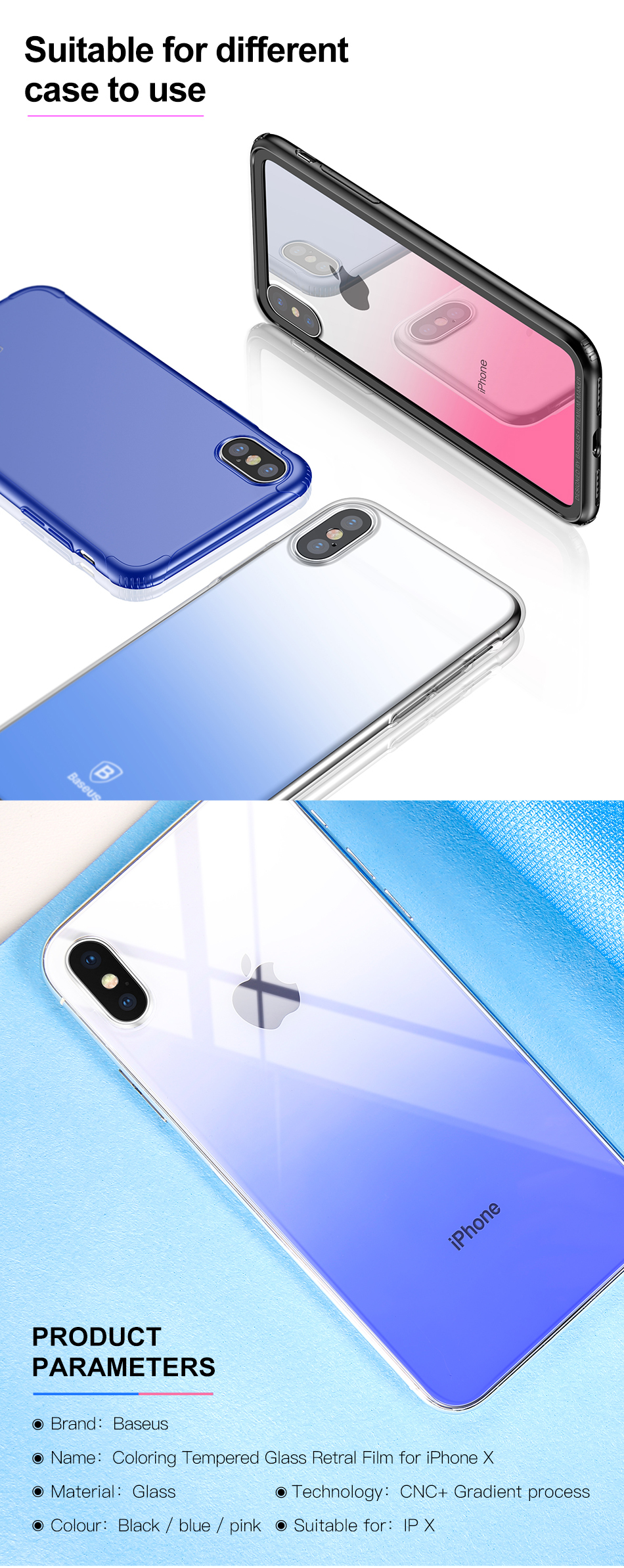 Baseus Gradient Color 0.3mm 9H Back Tempered Glass Film for iPhone X