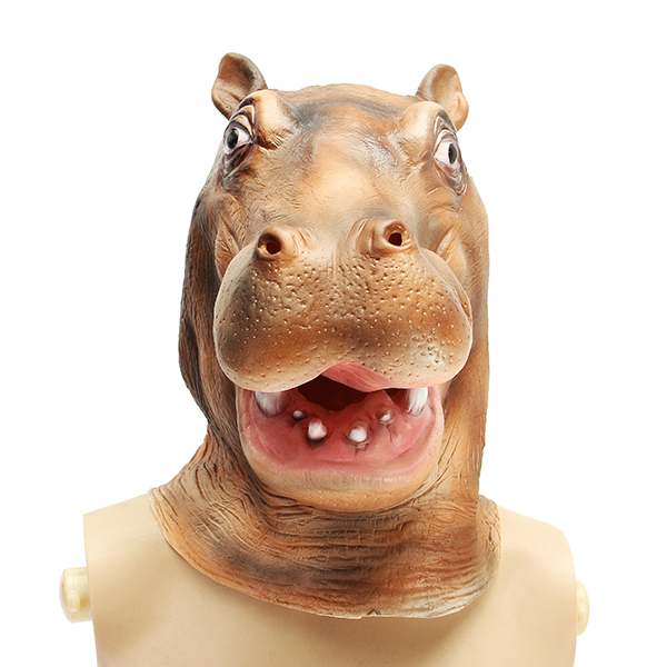Hippo River Horse Mask Creepy Animal Halloween Costume Theater Prop Party Cosplay