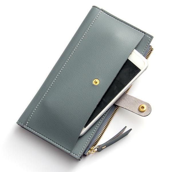 Details: Material PU Leather Color Black, Blue,Rose Red, Wine Red, Gray,Dark Gray, Light Blue Weight 200g Length 10cm(3.94'') Height 19cm(7.48'') Width 1.5cm(0.59'') Inner Pocket Main Pocket,Phone Pocket,Money Pocket,Photo Slot,12 Card Slots Closure Zippe #purse
