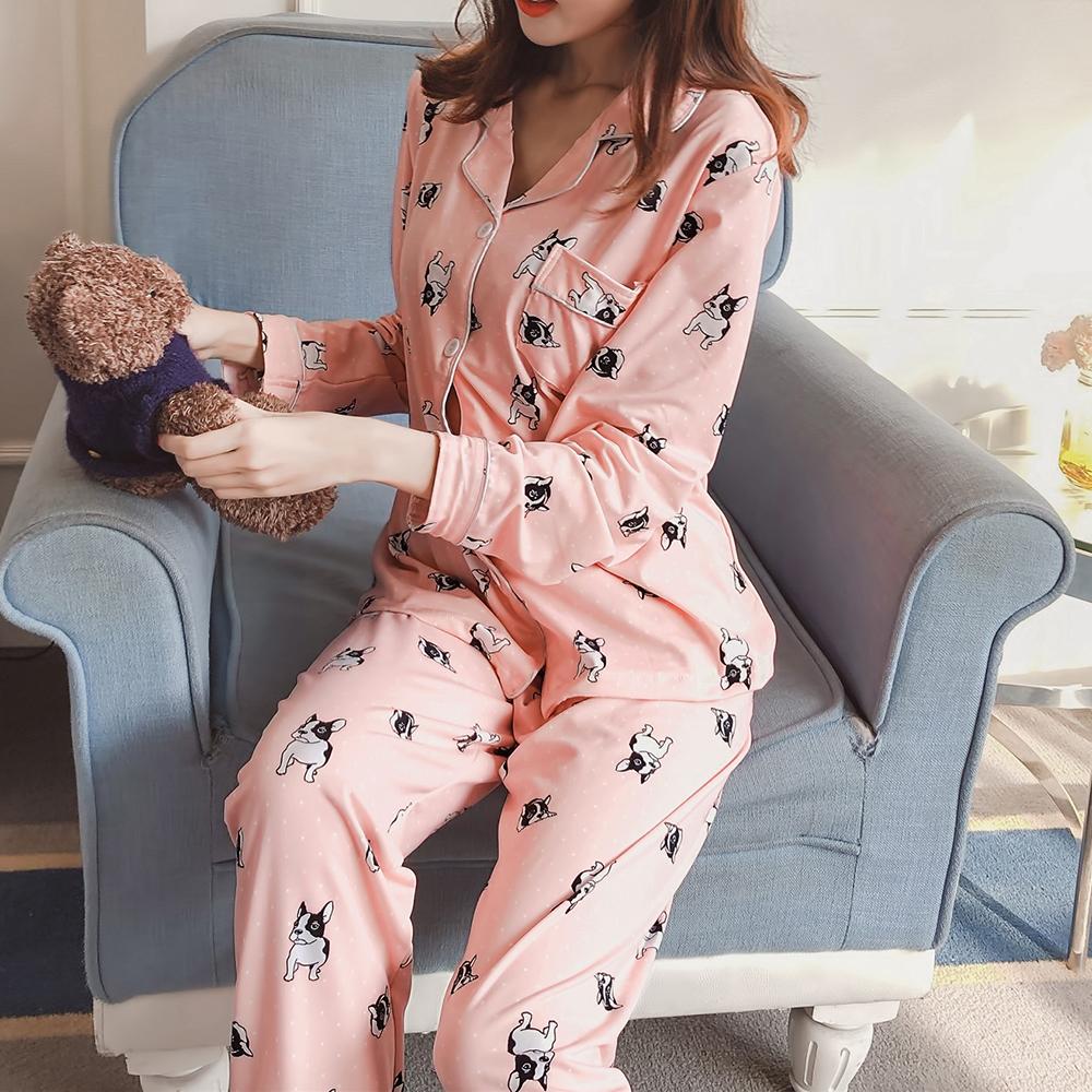 Banggood 2Pcs Cartoon Printed Long Sleeve Lapel Button Silk Pajama Sets Sleepwear