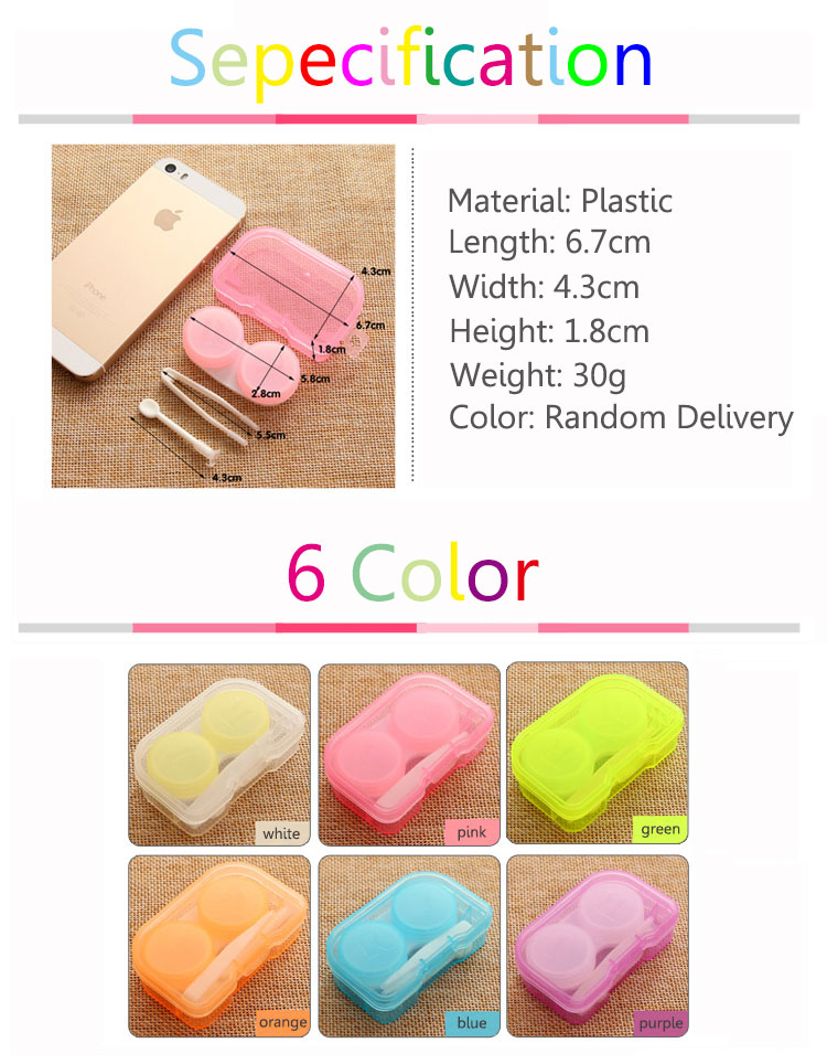 Candy Color Contact Lens Case Portable Container Holder Eyewear Bag Storage Boxes Travel Kit