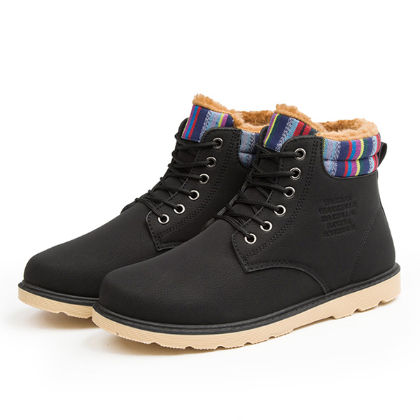 Men Casual Soft Leather High Top Fur Lining Boots Warm Shoes