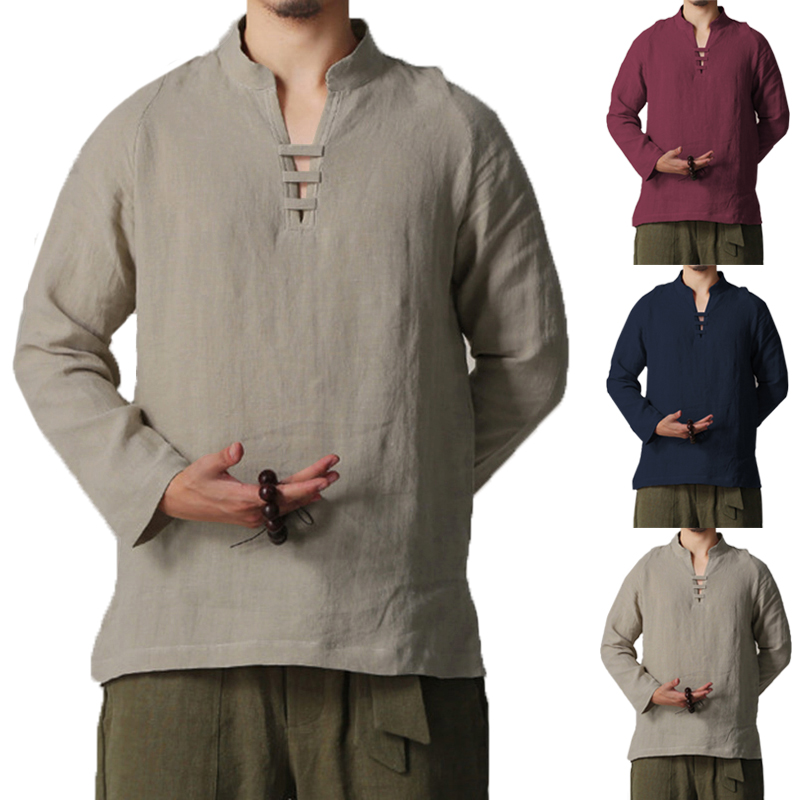Fashion Men's Chinese Style V-Neck Cotton Linen T-shirts