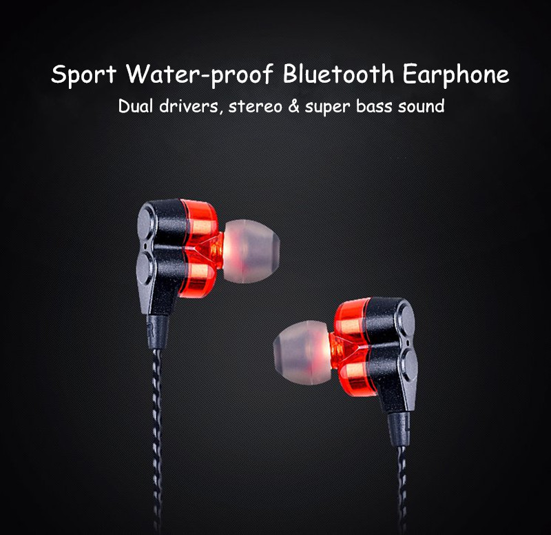 WY-S11 Dual Drivers Sport Waterproof Magnetic Necklace bluetooth Earphone Headset for Mobile Phone