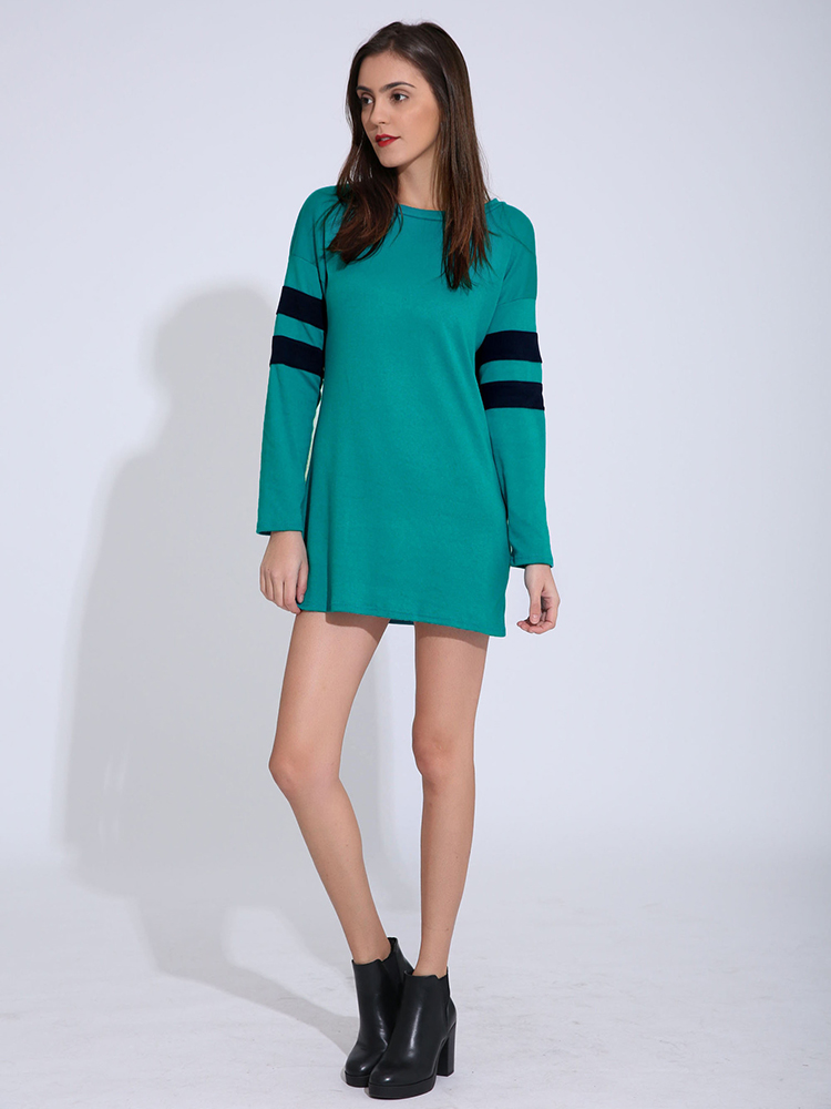 Casual Women Long Sleeve O-Neck Pure Color Spring Mini Dress