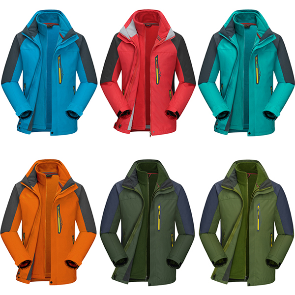 Mens Outdoor Sports 2 in 1 Waterproof Windproof Breathable Fleece Hooded Jacket