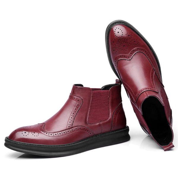 Men Comfy Brogue Style Ankle Boots