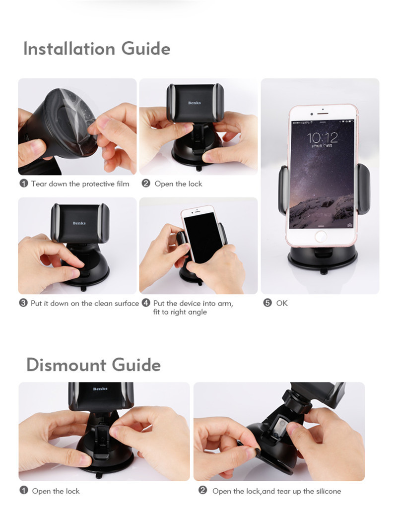 Benks Suction Cup Multi-angle Rotation Car Dashboard Phone Holder Windshield Stand for iPhone Xiaomi