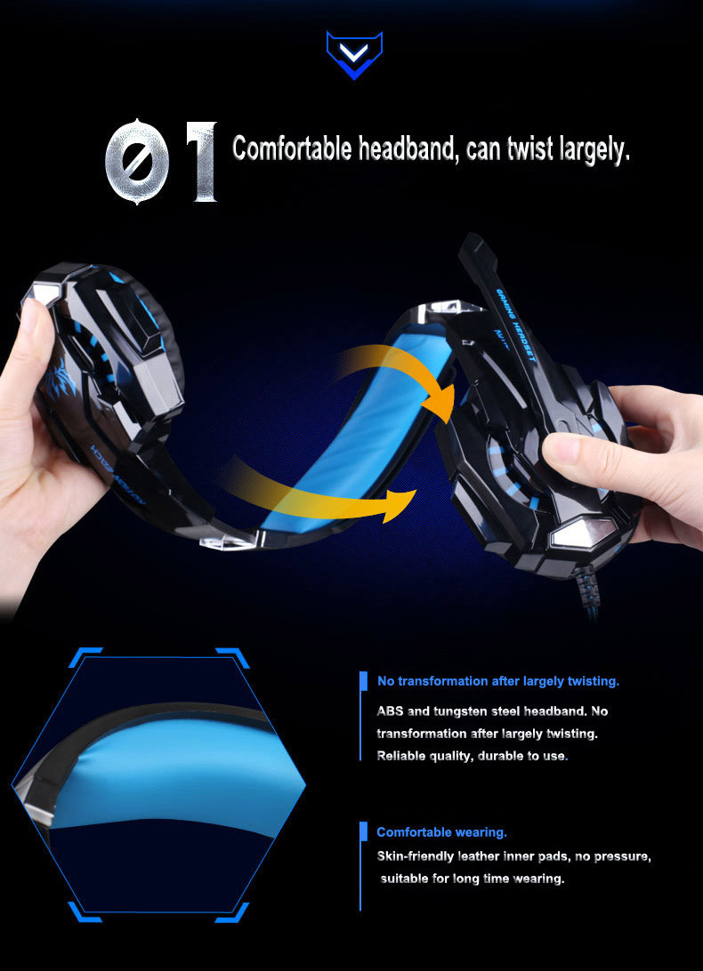 Kotion Each G9000 3.5mm And USB Interface 7.1 Surround Sound Gaming Headphone With Mic