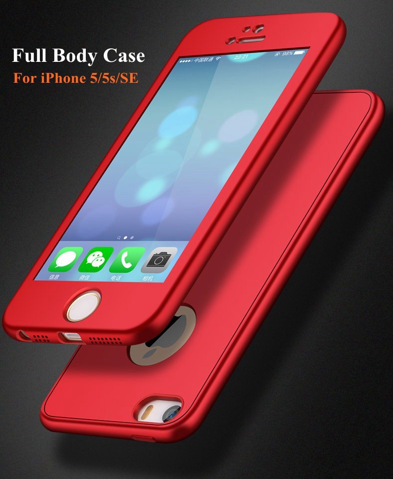 Bakeey 360º Full Body Silicone Case With Tempered Glass Film For iPhone 5/5s/SE