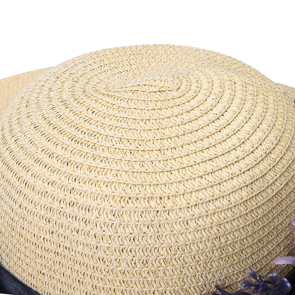 Women With String Foldable Flower Sunscreen Bucket Straw Hat