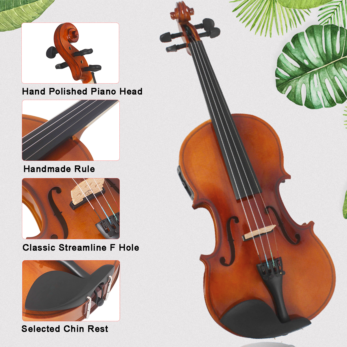 Astonvilla 4/4 Solid Wood Electro-acoustic Violin with Case/Bow/Cloth/Wire/Holder Mount
