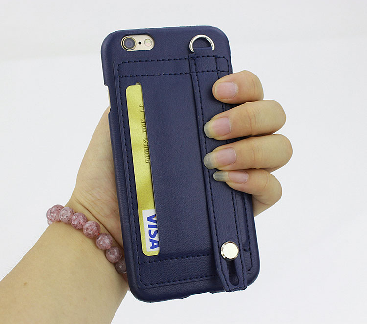 New Fashion Hand Strap Buckle Anti-Slip Leather Case With Card Slot Stand Case Cover For iPhone 6/6s