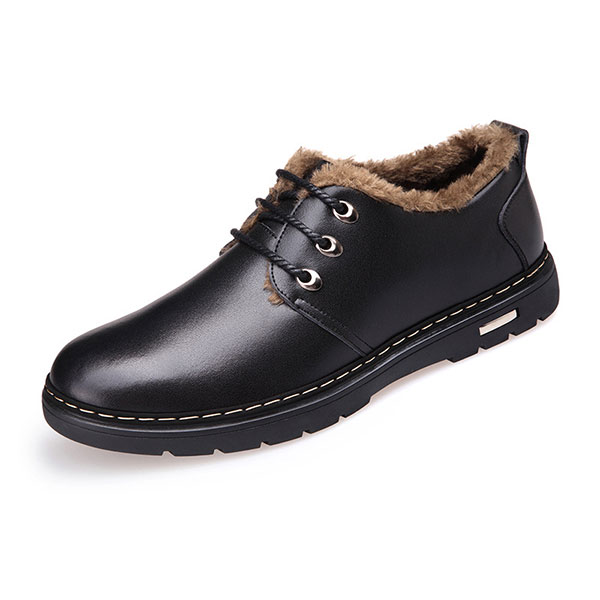 New Men Winter Keep Warm Plush Cotton Low Top Casual Comfortable Lace-Up Shoes