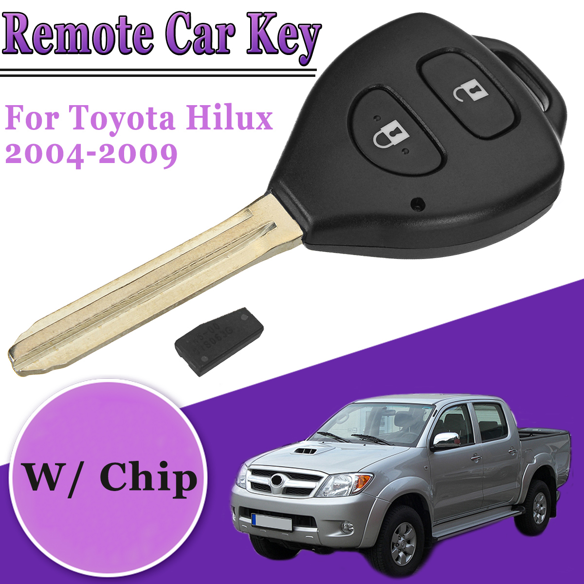 433 MHz 4D Car Remote Key Complete Key With Chip Fits For Toyota Hilux 2004-2009